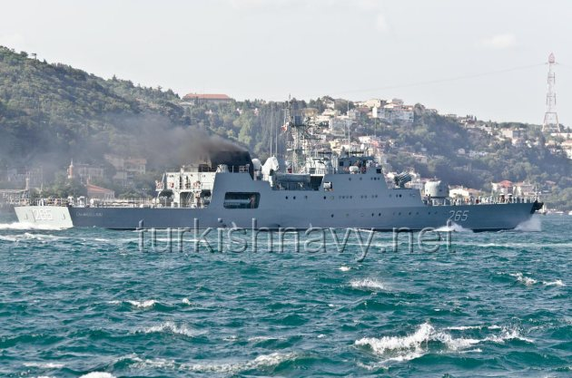 The Romanian Tetal 2 class corvette 265 Contraamiral Horia Macellariu. This photo was taken during the August 2012 Activation of the BlackSeaFor.