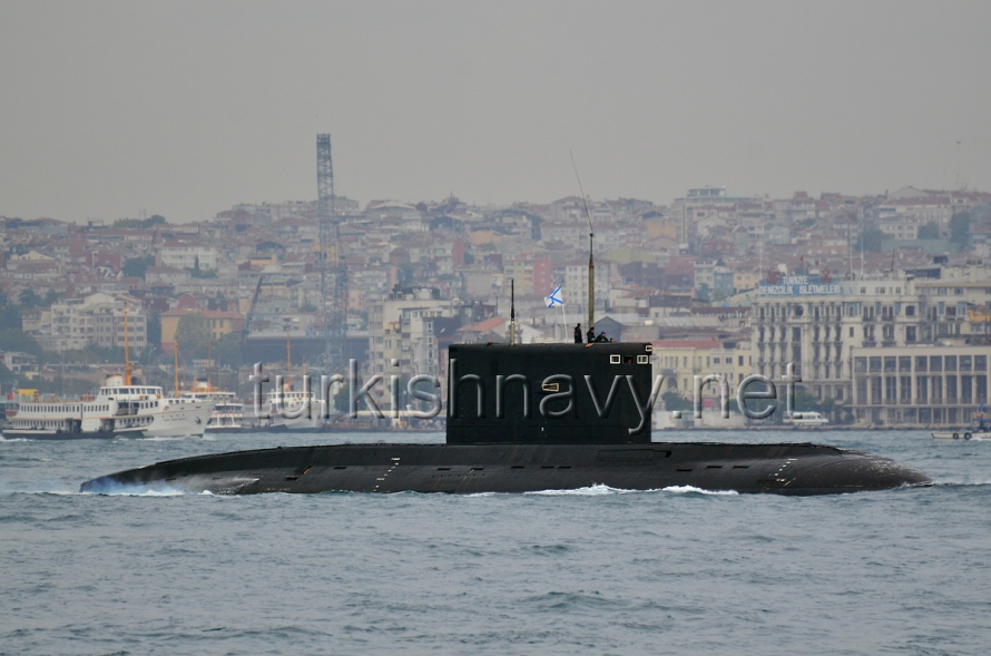 Russian submarine Alrosa passing through Bosphorus.