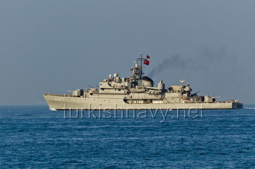 A-577 TCG Sokullu Mehmet Paşa, passing through Bosphorus in 2012.