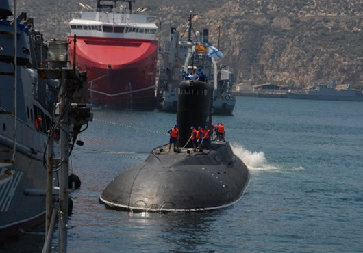 The submarine Alrosa docking in Ceuta. Photo: From navaltoday.com