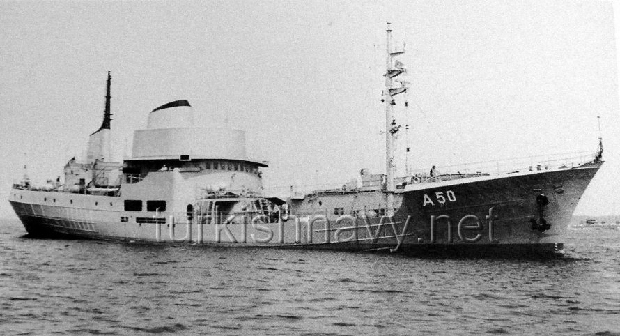 A-590 TCG Yunus shown here as A-50 FSG Alster.  Photo: from the book Die Deutsche Marine 1955 - 1985