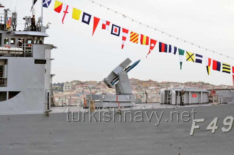 The business end of F-496 TCG Gökova. Mk-13 launcher with a training SM-1 missile and the newly installed Mk-48 VLS with ESSM missiles.