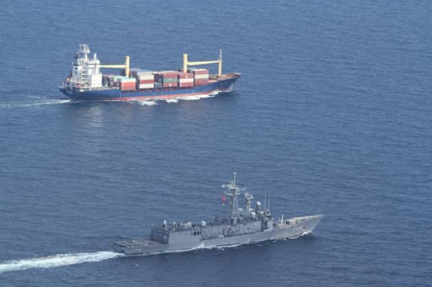 F-496 TCG Gökova escorting M/V Aqua Luna. Photo: Official Turkish General Staff photo.
