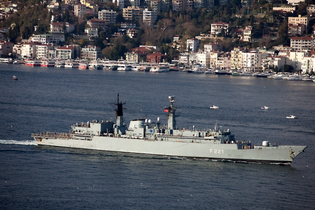 Romanian frigate F-221 Regele Ferdinand on her way to home. Photo: Kerim Bozkurt. Used with permission.
