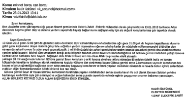 The original text of the thank you note. Photo: Turkish General Staff.