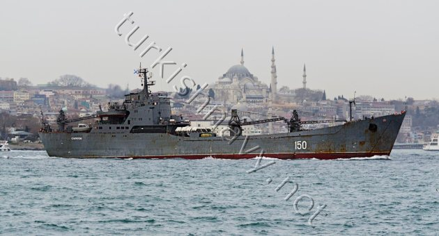Alligator class large landing ship 150 Saratov on her northbound passage through Bosphorus.