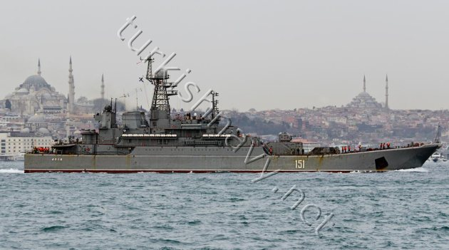 Ropucha class large landing ship 151 Azov on her northbound passage through Bosphorus