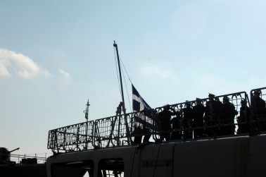 Lowering of the Greek flag on Boubolina. Photo: Official Hellenic Navy Photo.