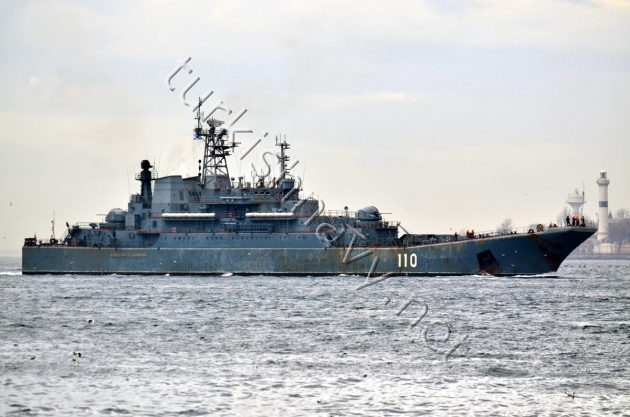 The Baltic Fleet warship Alexander Shabalin in one of her many passage through the Bosphorus in February 2013.