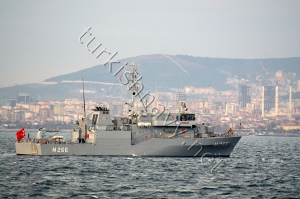 M-266 TCG Amasra. She is identical to TCG Alanya taking part in Minex '13 in Spain.