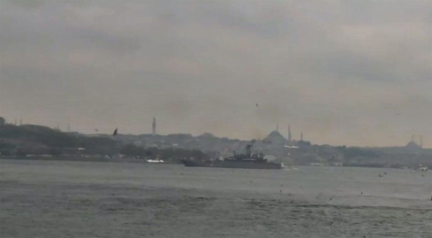 Russian landing Ship Azov passing through the Bosphorus.