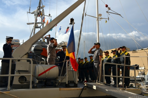The handover ceremony of the Italian patrol boat to Romanian Border Guard. Photo: Romanian Embassy  in Italy