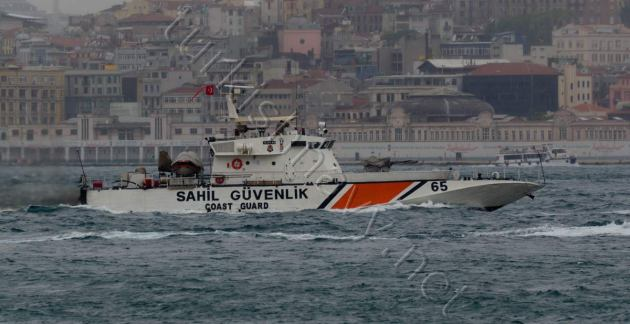 Turkish Coast Guard vessel SG-65 was escorting the Russian ships.