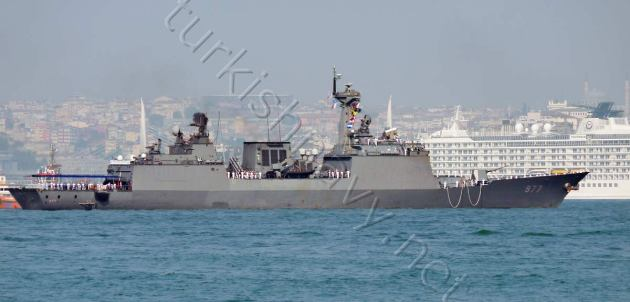 Korean KDX-2 class destroyer 977 Dae Jo Young docking at Istanbul port.