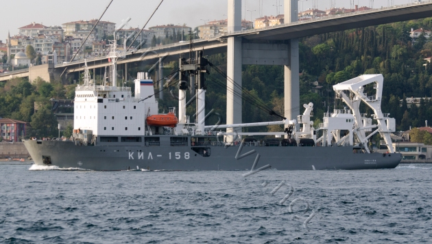 Russian KAshnin class buoy tender KIL-158 passing through the Bosphorus today. She is heading to Greece for an offical visit.