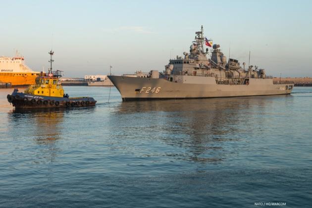 Turkish frigate F-246 TCG Salihreis entering Port of Casablanca as port of SNMG-2