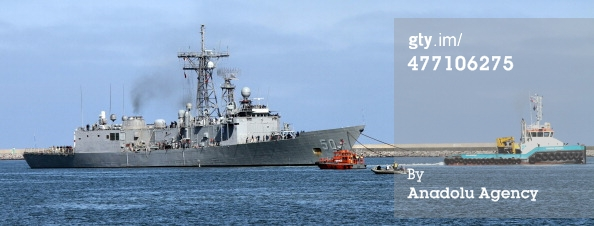 USS Taylor being puılled away from Samsun. Photo: Anadolu Ajansı, via gettyimages.