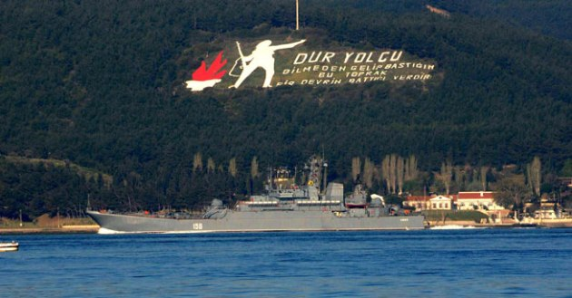 Russian warship Yamal passing through the Dardanelles. Photo: DHA.