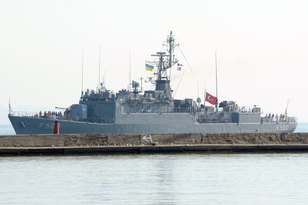 TCG Bozcaada arriving ODeesa for Sea Breeze 2015 exercise.