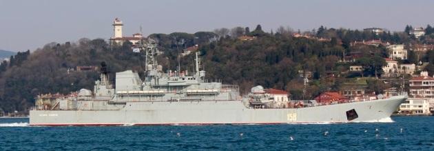 Russian warship Tsezar Kunikov making her southbound passage. Photo: Yörük Işık.