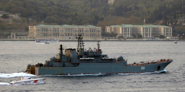 Russian Ropucha class landing ship Alexander Otrakovski returned from her Syrian deploymenyt. Photo: Alper Böler.