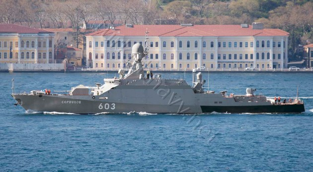 The second Buyan-M class corvette of Russian Black Sea Fleet, Serpukhov, making her southbound passage through Istanbul.