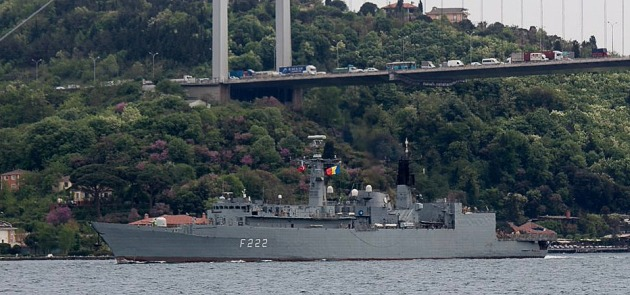 Romanian frigate Regina Maria returning to the Blakc Sea just after 3 days. Photo: Yörük Işık.