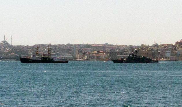 Russian Tug MB-31 tows Egpytian Tarantul class corvette R-32 to her new home port.