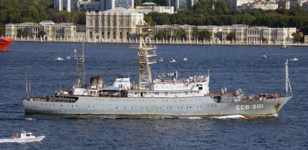 Russian inteligence gathering ship Priazove returned from her Mediterranean deployment. Photo: Alper Böler