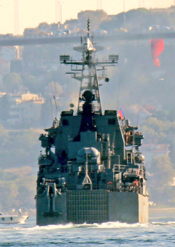 The stern view of Alexander Shablin as she is heading to Syria. Photo: Yörük Işık.