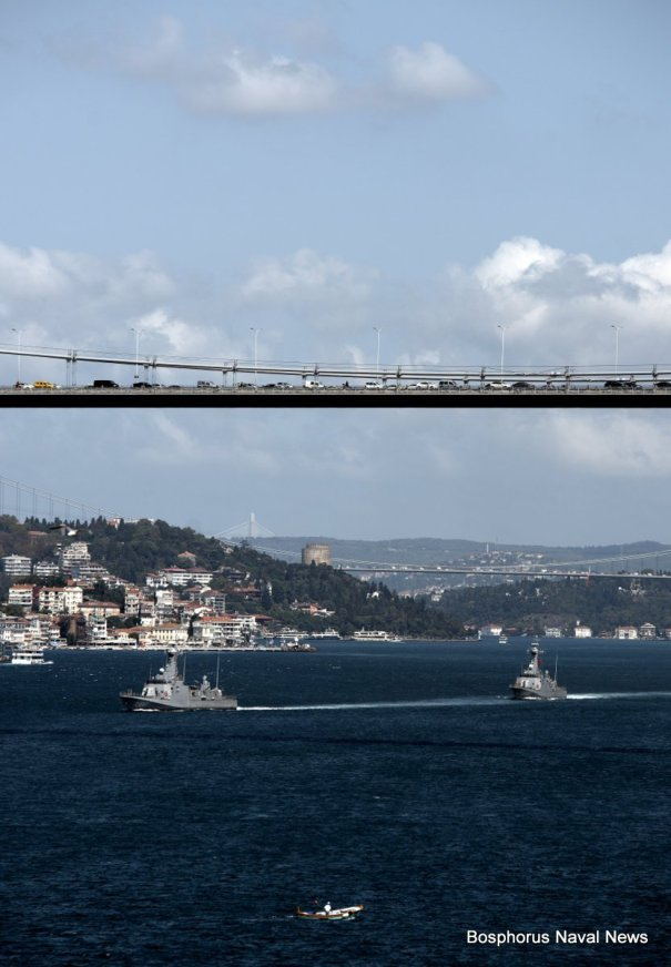 Turkish fast attack craft TCG Atak (left) and TCG Tufan passing through Bosphorus in formation.